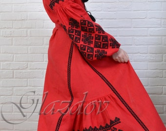 Ukrainian linen embroidered dress vyshyvanka