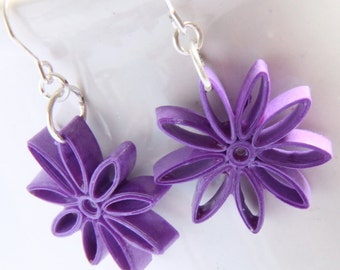 Eco Friendly Earrings Nine Pointed Star Purple Paper Quilling bridesmaid gift Artisan Jewelry hypoallergenic