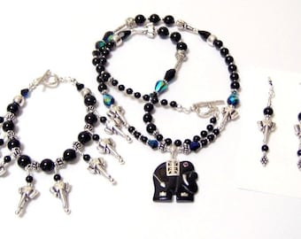 An Elephant Never Forgets Black Onyx Sterling Silver Signature Design Statement Necklace Bracelet and Matching Earrings