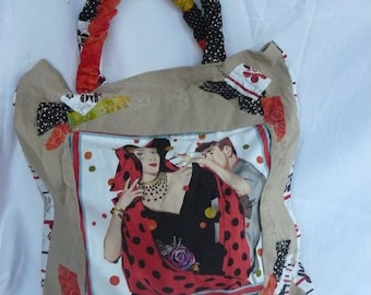 handmade bag in canvas with retro images