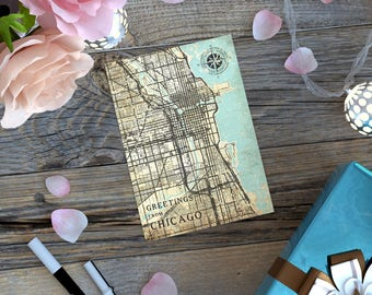 CHICAGO IL Gift Card Postcard Illinois Chicago Il Vintage map Retro Post Card Thank you Note Card Greeting Card Gift Print Tiny Wall Art Map