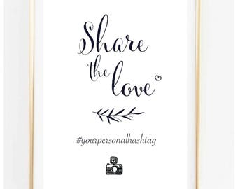 Hashtag wedding sign, editable Instagram to print, Social Media, Template, Download