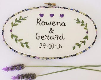 CUSTOM Personalized wedding embroidery hoop art. Hand embroidered wedding gift. Cotton anniversary. Name sign plaque. Personalised marriage