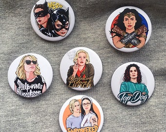 Leading Ladies - Kate McKinnon - OITNB - Wonder Woman - Catwoman - Bridesmaids - Wentworth Single Button Pin Badge