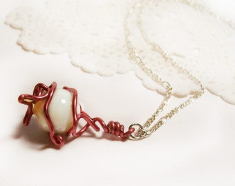 """Pink Wire Wrapped White Glass Ball Necklace, Silver Chain, 18"""", Handmade"""