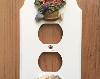 Decorative Electrical Outlet Cover Plate - Switchplate Cover - Vintage Electrical Outlet Cover - Flower Gardener