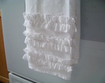 Ruffled White Cotton Flour Sack Towel for Kitchen or Bathroom - My Top Seller!