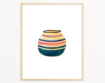Watercolor Modern Boho Art Print. Colorful Basket Paintingt. Bohemian Hippie Art. African Basket Art. Unique Colorful Art. Southwest Art.