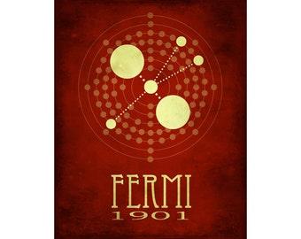 Enrico Fermi 8x10 Science Poster, Steampunk Science, Rock Star Scientist Art, Geek Chic Decor, STEM Artwork, Faux Vintage Science Print