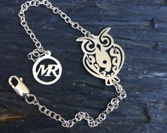 Owl bracelet. Sterling silver. Gold plated. Amulets. Perfect for Gift. Handmade. Bracelets with animal charm.