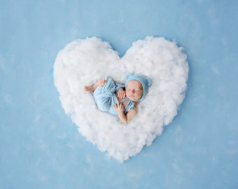 Newborn Photography Digital Backdrop for boys or girls - Simple white heart on blue background