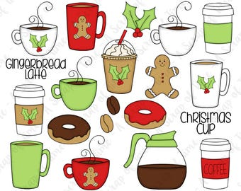 Gingerbread Latte Hand Drawn Digital Clipart - Set of 20 - Coffee, Latte, Christmas, Gingerbread Man, Donuts - Instant Download - Item #9168