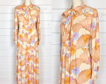 Vintage 1970s Pastel Psychedelic Maxi Dress / Bird Print / Poet Sleeves / Clouds & Floral