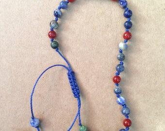 Dendric Jade, Red Carnelian, and Blue Sodalite Mala Bracelet