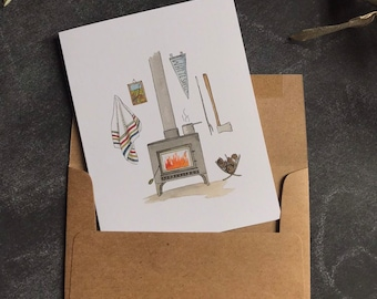 Greeting Card Cabin - Father's Day Cabin Card - Note Card - Woodland Birthday - Watercolor Card - Whimsical Card - Blank note card