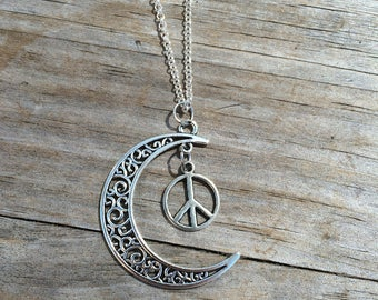 Moon charm with Peace sign necklace, Necklace, Moon necklace, Boho Necklace, Indie Necklace, Peace Necklace
