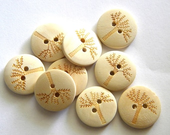 6 Unpainted Wooden Tree Buttons