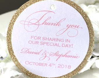 Set of 25 Wedding Thank You Tags -  Pink Thank You Tag - Gold Glitter Tag - Silver Glitter Tag - Personalized Thank You Tag - Shimmer Tag