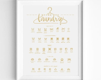 Christmas Gift Idea For Mom, Gold Laundry Symbols Guide, Calligraphy Art, Housewarming Gift, Art Print, Home Decor, Laundry Room