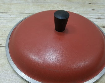 Heavy Red Replacement Lid, Vintage pot lid, 1970s