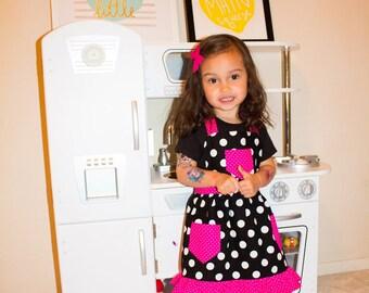 Polka Dot Apron, Children's Apron, Toddler Apron, Girl Apron, Baking Apron, Cooking Apron, Kids Apron, Little Girls Apron, Retro Style Apron
