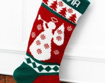 Wool Christmas Stocking Angel (Personalized)