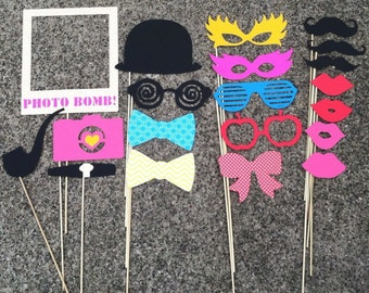Photo Booth Props - set of 20 - Wedding Props, Party Props, Photobooth Props, Birthday Props, Props on Sticks