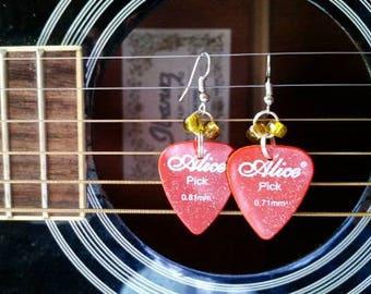 Orange Guitar Pick Earrings