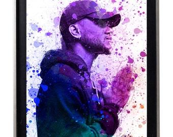 Bryson Tiller Trap Soul Modern watercolor Splatter Oil Painting gallery matte print poster