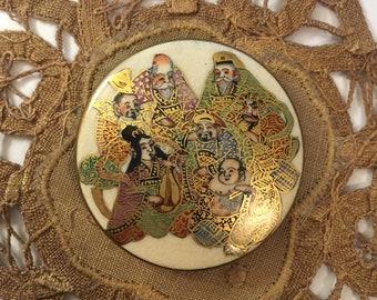 "Antique Satsuma Japanese Hand Painted Seven Gods Button Porcelain Tons of Gold NBS Size Large 1 13/16"""