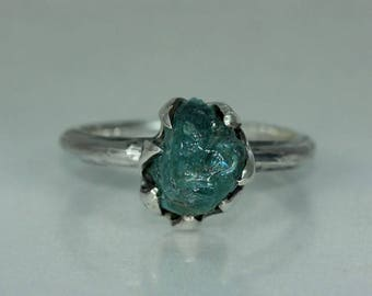 Aquamarine Recycled Silver Womans Organic Rustic Engagement Ring Unique Statement Solitare Ring