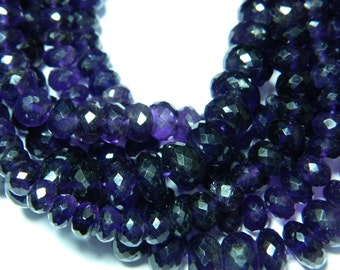 Wholesale African Amethyst Rondelles 8mm-13mm Micro Faceted Rondelles - 10 Inches Each - 33 pcs
