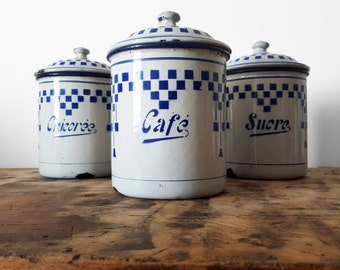 Mothers day French KITCHEN CANISTER set, LUSTUCRU blue and white chequered pattern /French decor /French kitchen/Easter