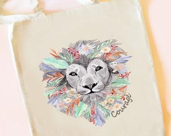 tote bag, leaves tote bag, illustrated tote bag, floral tote bag, lion illustration, flower tote bag, tropical tote bag, animal tote bag