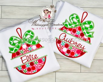 Girl Christmas Ornament Shirt - Custom Christmas Monogrammed Ornament - Baby Girl Christmas Outfit - Christmas Toddler Girl Shirt