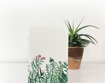 flowers illustrated A6 pocket notebook
