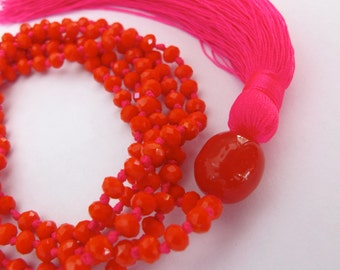 Tassel Necklace- Bright Orange, Red, Green, Black Long Crystal Beaded Necklace