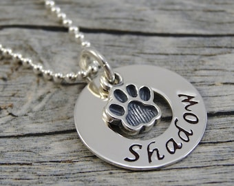Mom Necklace For Pet Owner - Hand Stamped Jewelry - Personalized Jewelry - Pet Jewelry - Sterling Silver Necklace - Washer - Paw Print Charm