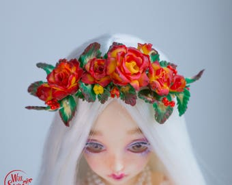 Handmade headband red + yellow Roses, Polymer clay flower wreath, Fimo flowers, BJD jewelry by WillStore