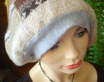 slouchy Hat womens tam oversize hat wool silk fairisle dreads