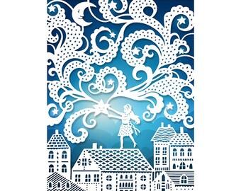 8x10 Print - Falling Star - Original Papercut Illustration - Fine Art Print