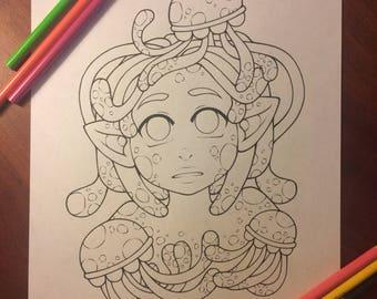 Printable PDF Coloring Page: Jellyfish Girl Line Art - Digital Download