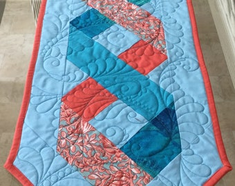 Table Runner, Mini Table Runner, Quilted Table Runner, Cover for Coffee Table, Table Decor, Quilted Mini Runner, Coral and Aqua Decor,