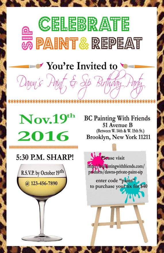 Paint Party Invitation Birthday Party Paint & Wine Party