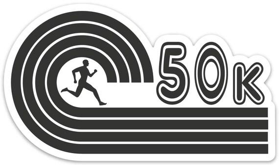 50K Runner Sticker - Vinyl Die Cut Sticker - Running Stickers - Run 50K - Car Stickers