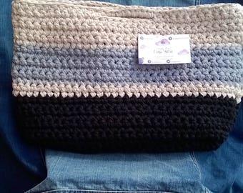 Shopping bag, grey, black, cream, striped, crochet, handbag, bag