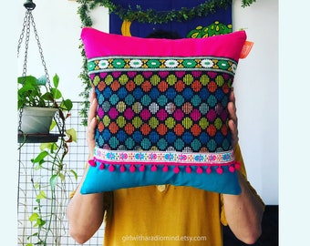 Boho Pillow Mexican Pink Colorful Cushion - Multicolor Bohemian Polka Dot Cushion Cover