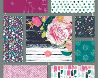 Navy, Teal and Pink Floral Custom Crib and Baby Bedding - The Lavish Collection