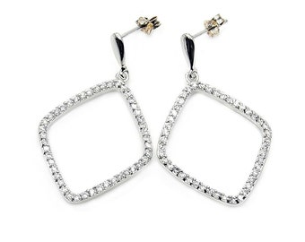Micro Pave Cubic Zirconia Sterling Silver Dangle Earrings, AA677 The Silver Plaza