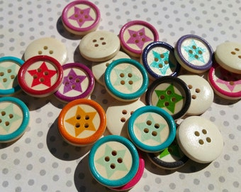 "Wood Star Buttons - Wooden Button Stars Bright Colors - 13/16"" Wide - 24 Buttons"
